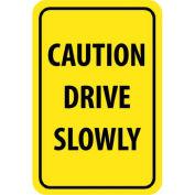 "NMC Traffic Sign, Caution Drive Slowly, 18"" X 12"", Yellow/Black, TM72G"