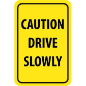 "NMC Traffic Sign, Caution Drive Slowly, 18"" X 12"", Yellow/Black, TM72H"