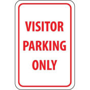 "NMC Traffic Sign, Visitor Parking Only, 18"" X 12"", White/Red, TM7G"