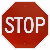 "NMC Traffic Sign, Stop Sign, 30"" X 30"", White/Red, TM81H"