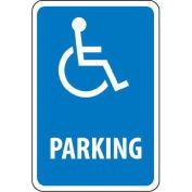 "NMC Traffic Sign, Parking W/Handicapped Symbol, 18"" X 12"", White/Blue, TM94G"