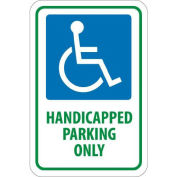 "NMC Traffic Sign, Handicapped Parking Only, 18"" X 12"", White/Blue/Green, TM145J"