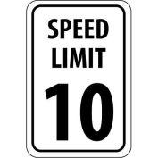 "NMC Traffic Sign, 10 MPH Speed Limit Sign, 18"" X 12"", White/Black, TM18G"