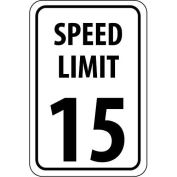 "NMC Traffic Sign, 15 MPH Speed Limit Sign, 18"" X 12"", White/Black, TM19H"