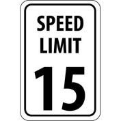 "NMC Traffic Sign, 15 MPH Speed Limit Sign, 24"" X 18"", White/Black, TM19J"