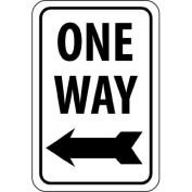 "NMC Traffic Sign, One Way With Left Arrow, 18"" X 12"", White/Black, TM22G"