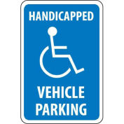 "NMC Traffic Sign, Handicapped Vehicle Parking, 18"" X 12"", White/Blue, TM10G"