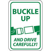 "NMC Traffic Sign, Buckle Up And Drive Carefully, 24"" X 18"", White/Green, TM111J"