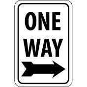 "NMC Traffic Sign, One Way With Right Arrow, 24"" X 18"", White/Black, TM116J"