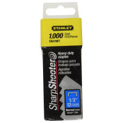 """Stanley Heavy-Duty Narrow Crown Staples 1/2"""", 1,000 Pack, TRA708T"""