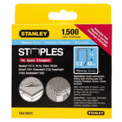 """Stanley 1/2"""" Heavy-Duty Narrow Crown Staples, TRA708TCS, 1500 Pack - Pkg Qty 5"""