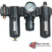 "1/2"" Modular FRL W/End Ports, Gauge, Poly Bowl, Manual & Fog LUBR, OSHA Valve"