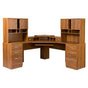 American Furniture Classics L Workcenter W/Monitor Platform & 2 Hutches