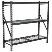 "Heavy Duty Storage Rack with Wire Decking, Black, 77""W x 24""D x 72""H"