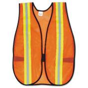"""Orange Safety Vest, 2"""" Reflective Strips, Polyester, Side Straps, One Size"""