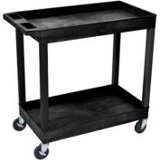 "Luxor E-Series Black 2-Shelf Tub Cart, 400 Lb. Cap., 35-1/4""L x 18""W x 34-1/4""H"
