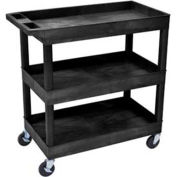 "Luxor E-Series Black 3-Shelf Tub Cart, 400 Lb. Cap., 35-1/4""L x 18""W x 34-1/4""H"