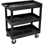 "Luxor E-Series Black 3-Shelf Tub Cart, 500 Lb. Cap., 35-1/4""L x 18""W x 36-1/4""H"
