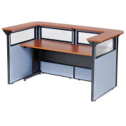 "88"" W x 44""D x 44""H U-Shaped Reception Station with Window, Cherry Counter/Blue Panel"