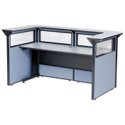 """88"""" W x 44""""D x 44""""H U-Shaped Reception Station with Window, Gray counter/Blue Panel"""
