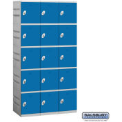 "Salsbury 95000 Series Plastic Locker, Five Tier, 3 Wide, 12-3/4""W x 18""D x 14-5/8""H, Blue"