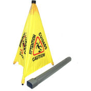 "Impact® Pop Up Safety Cone 31"" Yellow/Black, Multi-Lingual - 9182 - Pkg Qty 4"
