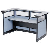 """88""""W x 44""""D x 46""""H U-Shaped Reception Station with Window and Raceway, Gray Counter/Blue Panel"""