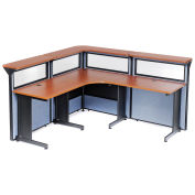 """80""""W x 80""""D x 44""""H L-Shaped Reception Station with Window, Cherry Counter/Blue Panel"""
