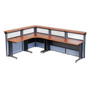 """116""""W x 80""""D x 44""""H L-Shaped Reception Station with Window, Cherry Counter/Blue Panel"""