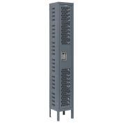 Heavy Duty Ventilated Steel Locker, Single Tier, 12x12x72, Unassembled, Gray