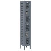 Heavy Duty Ventilated Steel Locker, Double Tier, 12x15x36, Unassembled, Gray