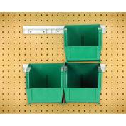"Hang & Stack Bins w/Two 12"" Rails, Four Bins 5-1/2""W x 10-7/8""D x 5""H, Green"