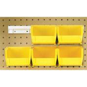 "Hang & Stack Bins w/Two 12"" Rails, Six Bins 4-1/8""W x 5""D x 3""H, Yellow"