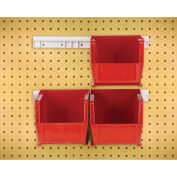 "Hang & Stack Bins w/Two 12"" Rails, Four Bins 5-1/2""W x 10-7/8""D x 5""H, Red"