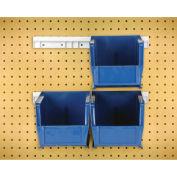 """Hang & Stack Bins w/Two 12"""" Rails, Four Bins 5-1/2""""W x 10-7/8""""D x 5""""H, Blue"""