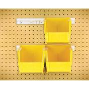 """Hang & Stack Bins w/Two 12"""" Rails, Four Bins 5-1/2""""W x 10-7/8""""D x 5""""H, Yellow"""
