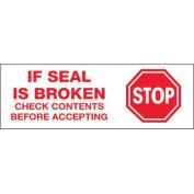 "2""x110 Yds Printed Carton Sealing Tape ""Stop If Seal Is Broken..."", White/Red, 36/PACK - Pkg Qty 36"