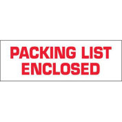 """2""""x110 Yds Printed Carton Sealing Tape """"Packing List Enclosed"""", White/Red, 36/PACK - Pkg Qty 36"""
