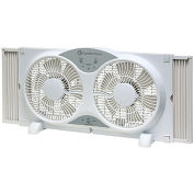 """Comfort Zone® CZ310R Reversible Twin Window Fan 9"""" with Remote Control"""