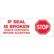 "2""x55 Yds Printed Carton Sealing Tape ""Stop If Seal Is Broken..."", Red/White, 6/PACK - Pkg Qty 6"