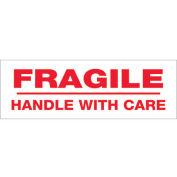 """3""""x110 Yds Printed Carton Sealing Tape """"Fragile Handle With Care"""", Red/White, 6/PACK - Pkg Qty 6"""