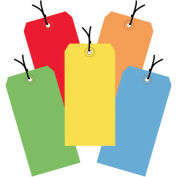 """4-3/4""""x2-3/8"""" Shipping Tags, Pre-Strung, Assorted Color, 1000 Pack"""