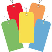 """4-3/4""""x2-3/8"""" Shipping Tags, Pre-Wired, Assorted Color, 1000 Pack"""
