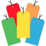 """6-1/4""""x3-1/8"""" Tyvek Shipping Tags, Pre-Strung, Assorted Color, 1000 Pack"""