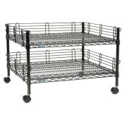 "Black Wire Shelf Copier Stand/Media Supply Cart, 2-Shelf, 32""W x 30""D x 20""H"