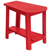 """Recycled Plastic Tapered Style Accent Table, Red, 29""""L x 18-1/2""""W x 19""""H"""