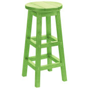 "Recycled Plastic Dining Pub Style Barstool, Kiwi Lime, 14""L x 14""W x 30""H"