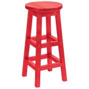 "Recycled Plastic Dining Pub Style Barstool, Red, 14""L x 14""W x 30""H"