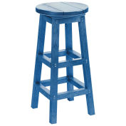 "Recycled Plastic Dining Pub Style Barstool, Blue, 14""L x 14""W x 30""H"