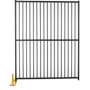 "8 Panel Temporary Security Fence Kit, European Style, 60""W x 72""H, Black Tiger Textured"